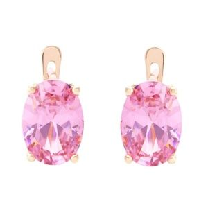 585 Yellow Gold Pink Oval Cubic Zirconia Earrings
